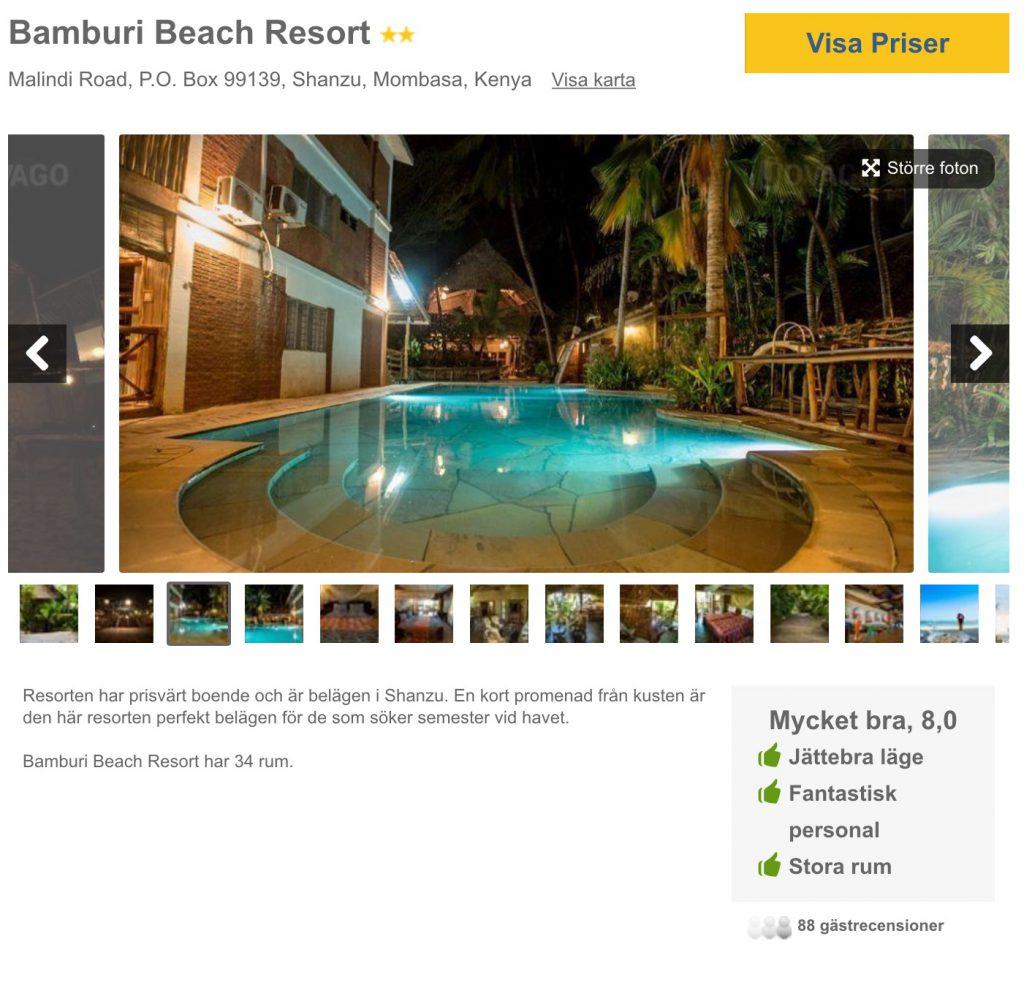 Bamburi beach via Flygresor.se